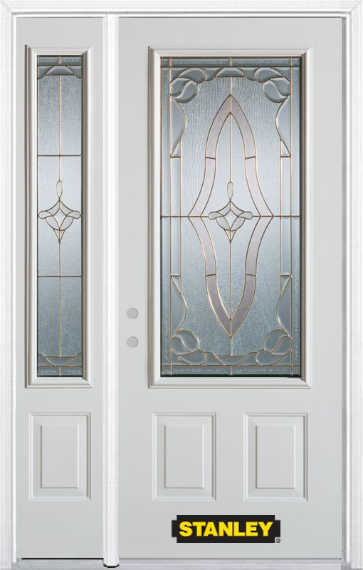 52-inch x 82-inch Florence 3/4-Lite 2-Panel White Steel Entry Door with Sidelite and Brickmould